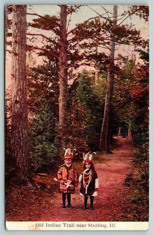 Sterling IL~Old Indian Trail~Little Children in Costume~Feather Headdress~1908 | Refried Jeans Postcards