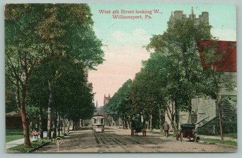Williamsport Pennsylvania~West 4th Street West~Trolley-Man on Bicycle~1910