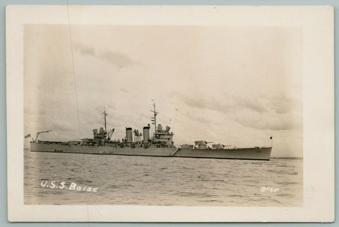 WWII Military~USS Boise~Brooklyn Class Light Cruiser~1940s RPPC