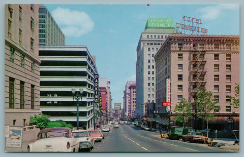 Portland Oregon~Sixth Avenue~Pacific Power~US Coast Guard Poster~1950s Cars