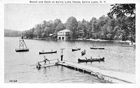 Sylvia Lake New York~Beach & Dock at Lake House~Canoe~Diving Platform~1940s B&W