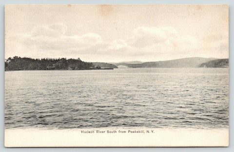 Peekskill New York~Hudson River Scenic View South of Town~1905 B&W Postcard
