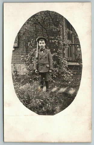 RPPC Dapper Boy w/Rifle~Right Shoulder Arms Position~Wool Coat~Bow Tie 1910 Oval