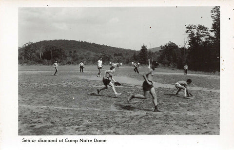 Spofford New Hampshire~Camp Notre Dame~Catholic Boys~Baseball Game~1950s RPPC