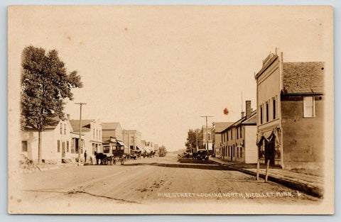Nicollet MN~Horse & Tall Carriage~Pine St N~Cars~Old West Facades RPPC c1914