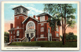 Wadsworth Ohio~Trinity Reformed Church~Stained Glass Windows~1920s Postcard