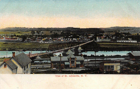 St Johnsville New York~Panorama~Double Span Thru Truss Bridge~Houses~Depot~1905