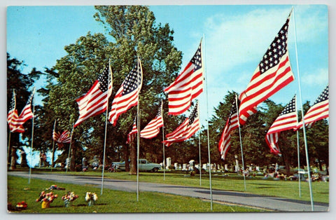 Red Oak Iowa~Montgomery County Court of Honor~Cemetery Veterans Day Flags~1950s