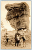 Garden of Gods~Crooks SD Olaf Ulvilden Under Balanced Rock~Burros~c1920 RPPC
