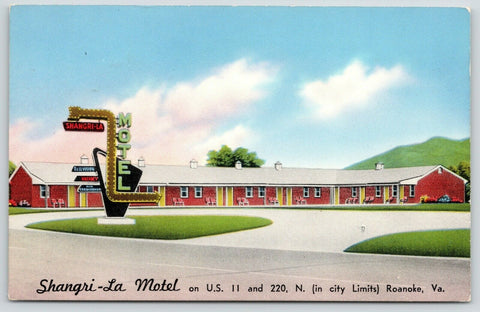 Roanoke Virginia~Shangri-La Motel~Lightbulb Arrow Sign~Roadside US 11~1950s PC