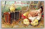 Easter~Hen & Chicks in Barnyard~Find Accordion~Coop Ladder~Embossed 1911 Germany