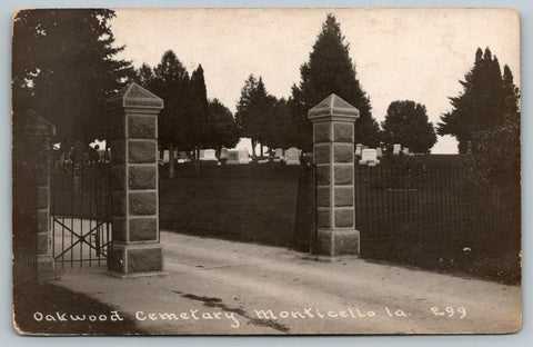 Monticello Iowa~Oakwood Cemetery Gate~Pillars~Tombstones~c1912 Real Photo~RPPC