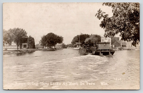 East De Pere Wisconsin~Kimberly No 1 Barge Going Thru Locks~1926 RPPC