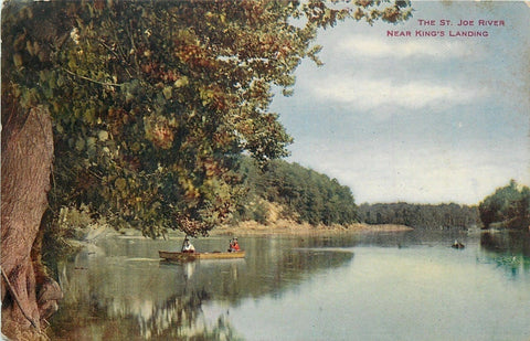 St Joseph Michigan~King's Landing Illinois~Canoe on St Joe River 1910 VO Hammon
