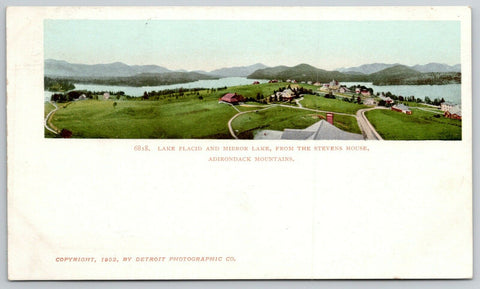 Lake Placid NY Detroit Publishing #6818~Mirror Lake Panorama c1905 UDB Postcard