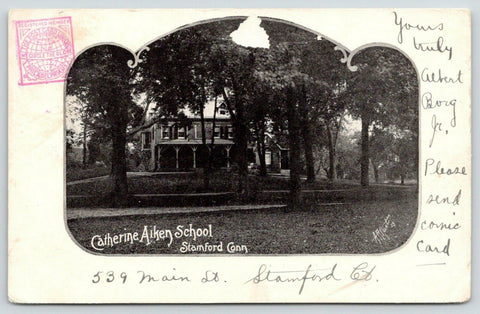 Stamford Connecticut~Catherine Aiken School~Lawn Shaded by Trees~1905