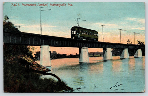 Indianapolis Indiana~Interurban Limited~Electric Trolley on Railroad Bridge~1909