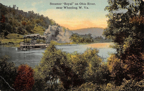 "Wheeling West Virginia~Steamer ""Royal"" on Ohio River~Paddlewheeler~1908 Postcard 