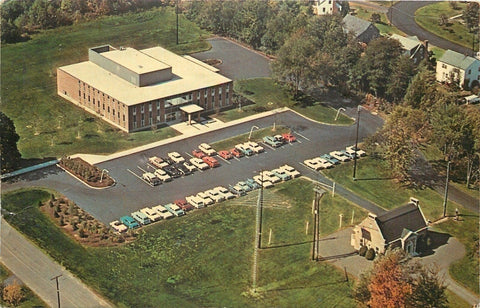 Newington CT~American Radio Relay League~Headquarters~Birdseye~1950s Cars In Lot | Refried Jeans Postcards