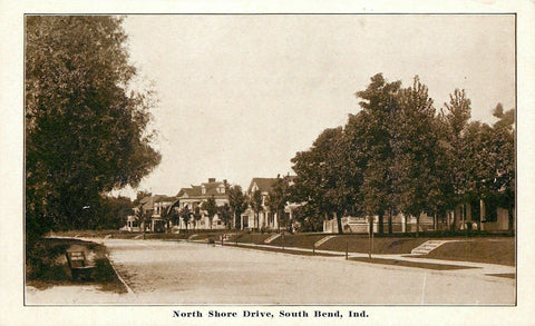 South Bend Indiana~North Shore Drive Neighborhood~Nice Homes~1915 Sepia PC | Refried Jeans Postcards