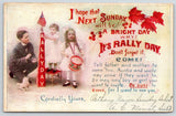 Chicago IL~Bethany Union Church~Sunday School Rally Day~Kids Blocks~US Flag~1910