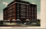 Okmulgee Oklahoma~Parkinson Hotel~Guests Out Front~Signs~1908 Postcard
