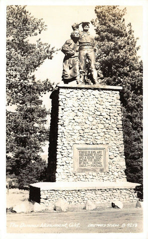 Truckee California~Donner Monument~Indomitable~Unafraid~1953 Real Photo~RPPC