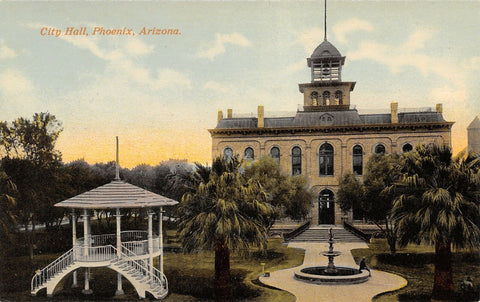 Phoenix Arizona~City Hall~Fountain~Grand Staircase to Band Stand~1912 Postcard