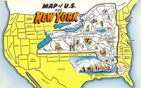 New York~United States Map~Exaggerated NY State Map~Lady Liberty~1950s Postcard