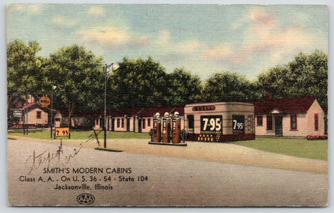 Jacksonville IL~Smiths Modern Cabins~Roadside Motel~Shell Station 7 for 95c~1947