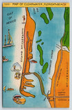 Clearwater Florida~Map of Harbor & Beach~Highways~Causeway~1940s Linen Postcard