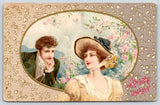 Valentine~Winsch Lady in Yellow Dress & Hat Wrap~Thoughtful Gent~Hearts in Air