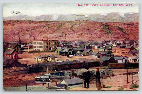 Rock Springs WY~Western Couple on Bluff Overlooking Town~Railroad~Homes~1911 PC