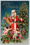 Christmas~Patriotic Santa & Flag~Decorated Tree~Starry Night~Cherub Angels~1908