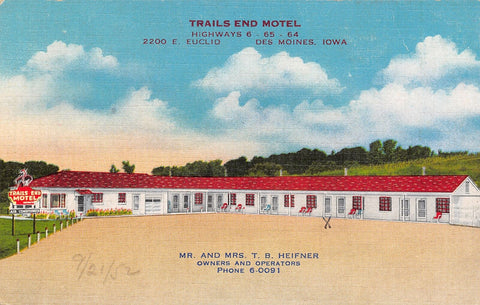 Des Moines IA Trails End Motel @ 2200 E Euclid Ave~Owner Heifner~Linen 1940s