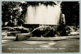 Kalamazoo Michigan~Fountain Sprays Water in Bronson Park~c1940 RPPC
