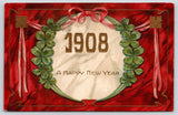 PFB New Year~Large Number 1908~Shamrocks~Red Back Gold Art Nouveau~Serie 7293