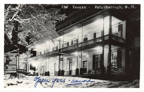Petersborough New Hampshire~The Tavern Hotel & Inn~Night Lights~1930s Cars~RPPC
