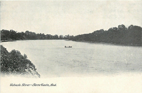 Terre Haute Indiana~Wabash River~Boat in Middle~1905 B&W Postcard