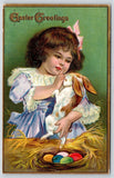 Easter~Little Girl in Lace & Lavender Cuddles Bunny Rabbit~Colored Eggs~NASH 1