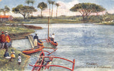 Hawaii~Hawaiian Islands Territory~Native Fishermen~Outrigger Boats~1910 TUCK PC