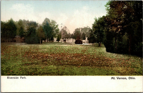 Mt Vernon Ohio~Riverside Park Monuments~Fall Leaves~1905 Postcard | Refried Jeans Postcards