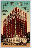 Memphis Tennessee~Hotel King Cotton~Army Navy Club~Muzak~c1950 Linen Postcard