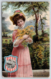 New Hampshire Girl~Lovely Lady~Goldenrod Flowers~Seal Shield~TUCK State Belles