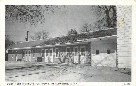 Luverne Minnesota~Trees Cast Shadow on Roof of Cozy Rest Motel~1950s Postcard pc