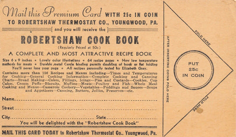 Youngwood Pennsylvania~Robertshaw Thermostat Co Postal~Cook Book Order 1940s?