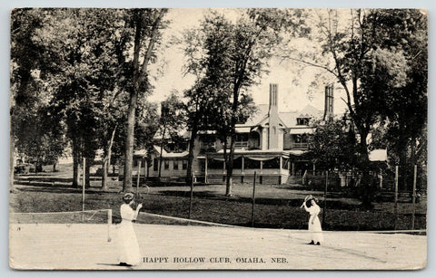 Omaha NE~Happy Hollow Club~Was JNH Patrick Home 54th St~Tennis Court Ladies~1910