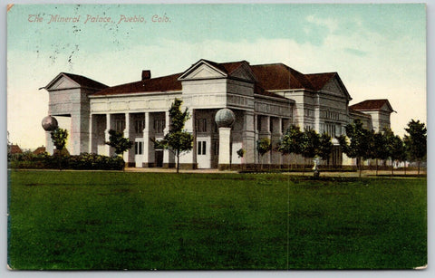 Pueblo Colorado~The Mineral Palace & Grounds~White Globe Topped Pillars~1910 PC