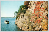 Wisconsin Dells~Autumn Trees on Witches Cliffs~Excursion Boat in Gulch~1950s PC