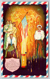 Robinson KS Patriotic~Victorian Family Gather For 4th July Fireworks~Red Flames